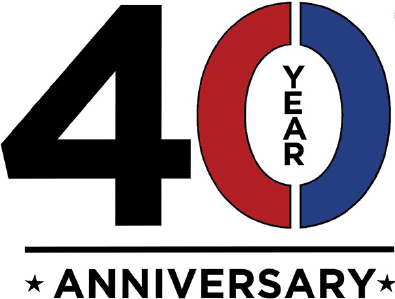 "40 Year Anniversary. The four is black, the zero is red and blue with ""year"" in the middle of it"